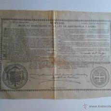 Documentos antiguos: BULA DE 1918 PAPA BENEDICTO XV DE 75 CENTIMOS DE PESETA. Lote 46697839