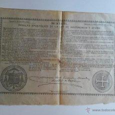 Documentos antiguos: BULA DE 1918 PAPA BENEDICTO XV DE 75 CENTIMOS DE PESETA. Lote 46697941