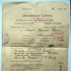 Documentos antiguos: RESGUARDO MATRÍCULA FACULTAD DE DERECHO. UNIVERSIDAD CENTRAL DE MADRID. CURSO DE 1940. Lote 46721658