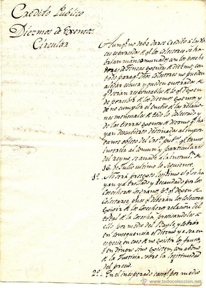 AÑO 1816 - CIRCULAR MANUSCRITA DE BARCELONA A PALLEJÁ DEL CRÉDITO PÚBLICO - DIEZMOS DE ¿EXENTOS? (Coleccionismo - Documentos - Otros documentos)