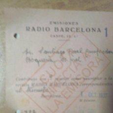 Documentos antiguos: EMISIONES REDIO BARCELONA 1937 EPOCA DE GUERRA CIVIL ESPAÑOLA DOCUMENTO BILINGUE. Lote 46898223