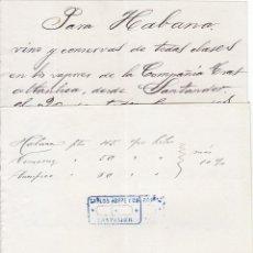 Documentos antiguos: 2 PAPELES INDICANDO TARIFAS ENVÍO MERCANCÍAS A LA HABANA. 1906. Lote 46921780