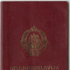 Documentos antiguos: PASAPORTE DE YUGOSLAVIA 1984. Lote 47039222