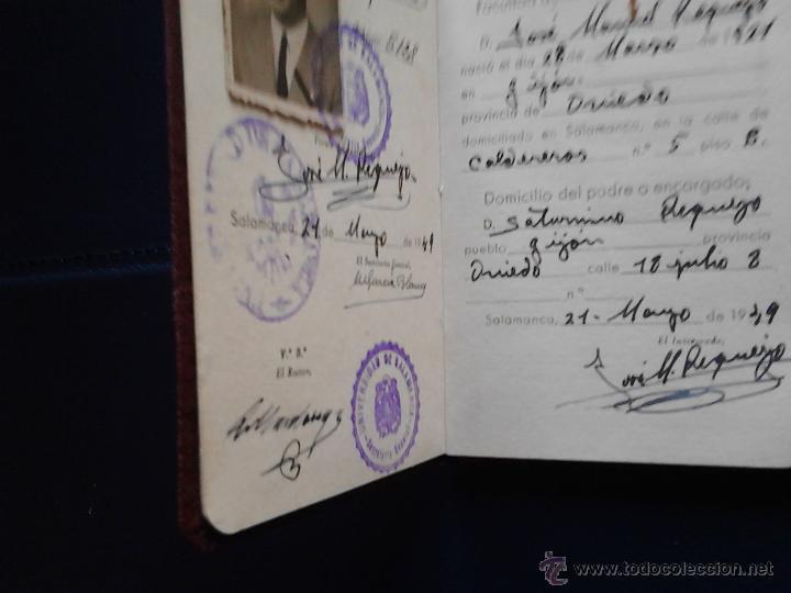 Documentos antiguos: CARNET DE IDENTIDAD ESCOLAR UNIVERSIDAD DE SALAMANCA MINISTERIO DE EDUCACIÓN NACIONAL - Foto 2 - 47078477