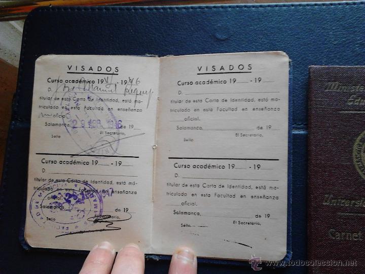 Documentos antiguos: CARNET DE IDENTIDAD ESCOLAR UNIVERSIDAD DE SALAMANCA MINISTERIO DE EDUCACIÓN NACIONAL - Foto 4 - 47078477