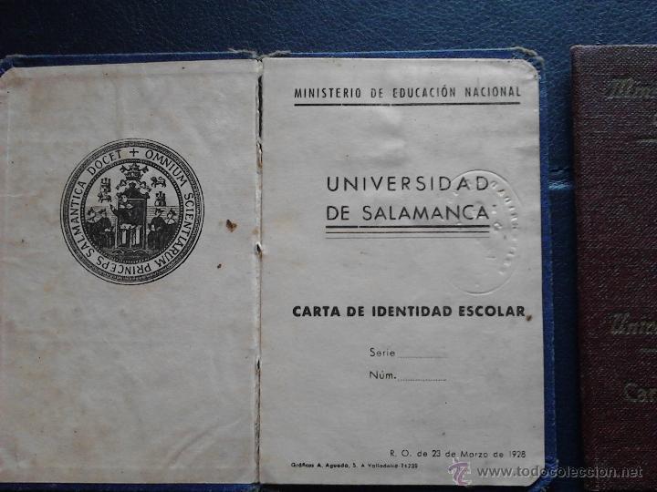 Documentos antiguos: CARNET DE IDENTIDAD ESCOLAR UNIVERSIDAD DE SALAMANCA MINISTERIO DE EDUCACIÓN NACIONAL - Foto 5 - 47078477