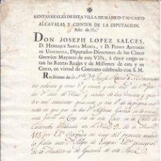 Documentos antiguos: CARTA DE PAGO DE LA ALCAVALA DE MADRID. 1803.. Lote 47092081