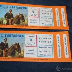 Documentos antiguos: 5 ENTRADAS PLAZA TOROS DE CARTAGENA, CURRO JIMENEZ, 7 MAYO 1978. Lote 219368135
