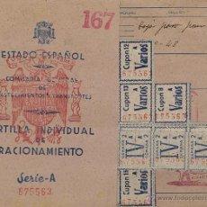 Documentos antiguos: CARTILLA INDIVIDUAL DE RACIONAMIENTO - ESTADO ESPAÑOL - COMISARÍA GENERAL DE ABASTECIMIENTOS Y TRANS. Lote 47147262
