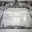 Documentos antiguos: EXCLUSIVO DIPLOMA ACADEMIA QUIRÚRGICA 1926 FIRMADO POR EL DOCTOR MARAÑÓN. Lote 47262323