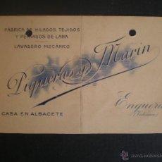Documentos antiguos: TARJETA DE VISITA, FABRICA DE TEJIDOS, ALBACETE Y VALENCIA, AÑOS 30. Lote 47315884