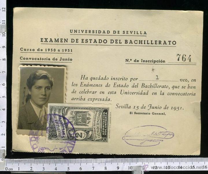 ANTIGUO Y CURIOSO CARNET PARA EL EXAMEN DEL ESTADO DEL BACHILLERATO, CON POLIZA FRANQUISTA. 1951 (Coleccionismo - Documentos - Otros documentos)
