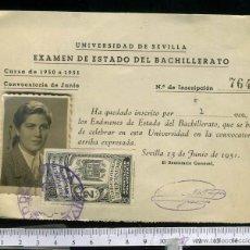 Documentos antiguos: ANTIGUO Y CURIOSO CARNET PARA EL EXAMEN DEL ESTADO DEL BACHILLERATO, CON POLIZA FRANQUISTA. 1951. Lote 47438007