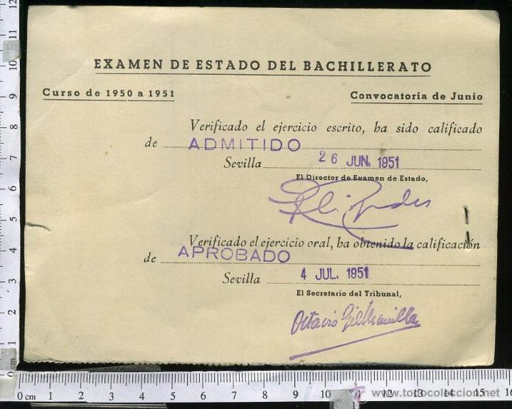 Documentos antiguos: ANTIGUO Y CURIOSO CARNET PARA EL EXAMEN DEL ESTADO DEL BACHILLERATO, CON POLIZA FRANQUISTA. 1951 - Foto 2 - 47438007