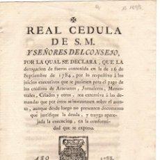 Documentos antiguos: CEDULA REAL. VITORIA. CARLOS III DE ESPAÑA. AÑO 1788. Lote 47557449
