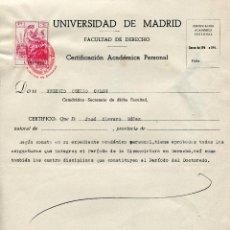 Documentos antiguos: CERTIFICACIÓN ACADÉMICA FACULTAD DERECHO MADRID 1946. Lote 47631901