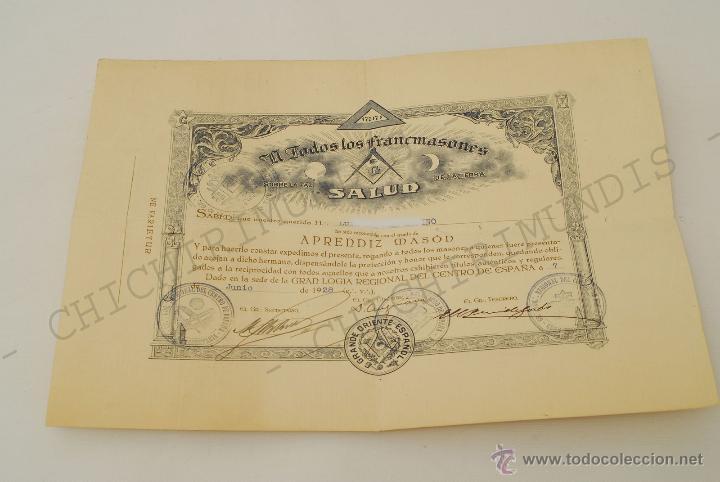 Documentos antiguos: Importante lote de Documentación perteneciente a un cargo Masón. Grande Oriente Español. 1927-1950. - Foto 9 - 47635392