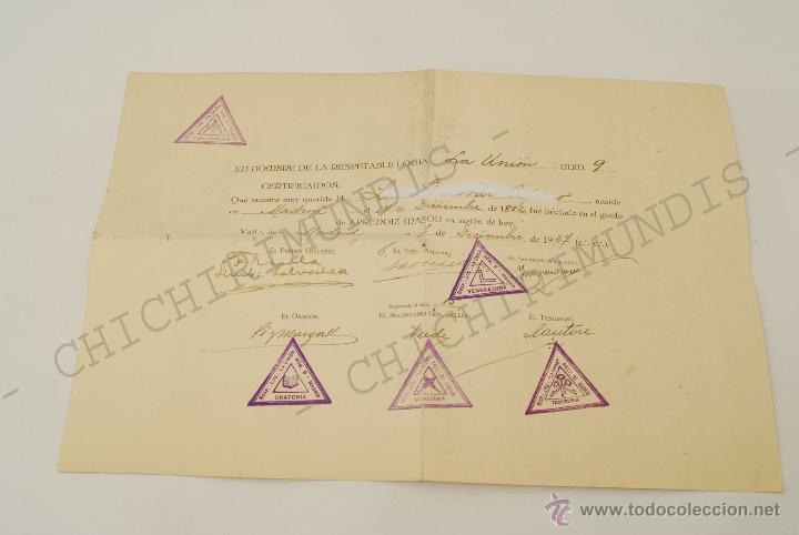 Documentos antiguos: Importante lote de Documentación perteneciente a un cargo Masón. Grande Oriente Español. 1927-1950. - Foto 10 - 47635392