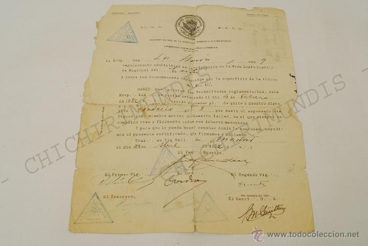 Documentos antiguos: Importante lote de Documentación perteneciente a un cargo Masón. Grande Oriente Español. 1927-1950. - Foto 11 - 47635392