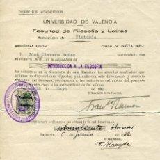 Documentos antiguos: UNIVERSIDAD DE VALENCIA. FACULTAD DERECHO 1931-32. DERECHOS ACADEMICOS Y CALIFICACIÓN. Lote 47680688