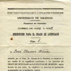 Documentos antiguos: UNIVERSIDAD DE VALENCIA. FACULTAD DERECHO 1938-39. GRADO DE LICENCIADO. Lote 47680949