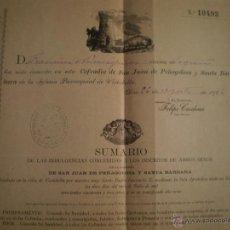 Documentos antigos: DOCUMENTO INSCRIPCION COFRADIA SAN JUAN PEÑAGOLOSA Y SANTA BARBARA DE VISTABELLA. AÑO 1906. Lote 47689216