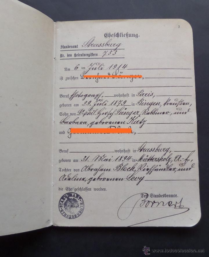 Documentos antiguos: Libro de Familia del Imperio Aleman expedido en el 6 de Julio de 1914. - Foto 2 - 47719702