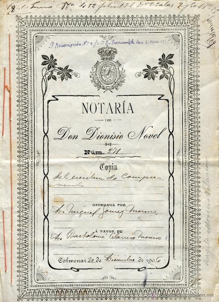 ESCRITURA DE COMPRAVENTA 1906. NOTARIA DE DON DIONISIO NOVEL DE COLMENAR (MÁLAGA) (Coleccionismo - Documentos - Otros documentos)