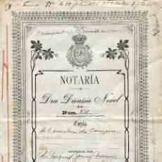 Documentos antiguos: ESCRITURA DE COMPRAVENTA 1906. NOTARIA DE DON DIONISIO NOVEL DE COLMENAR (MÁLAGA). Lote 47786902