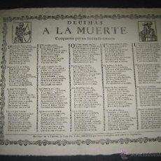 Documentos antiguos: DECIMAS A LA MUERTE - COMPUESTASPOR LASTIMADO CORAZON -SIGLO XIX - BARCELONA -(DX-9). Lote 47831262