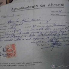 Documentos antiguos: DOCUMENTO CON SELLO DE AYUNTAMIENTO ALICANTE 2 PESETAS . Lote 47936392