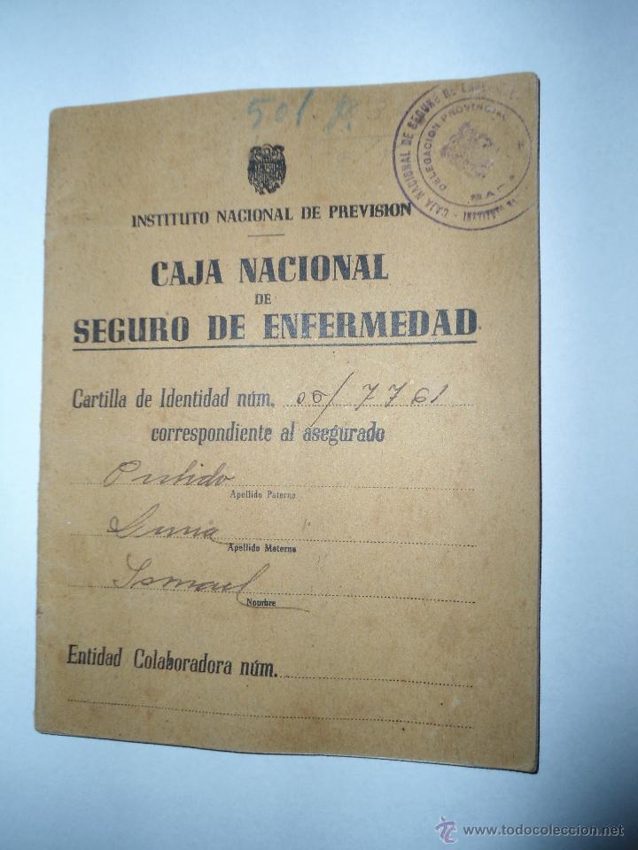 ANTIGUO DOCUMENTO CARTILLA CAJA NACIONAL SEGURO ENFERMEDAD - INSTITUTO NACIONAL PREVISION - 1944 (Coleccionismo - Documentos - Otros documentos)