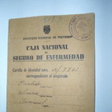 Documentos antiguos: ANTIGUO DOCUMENTO CARTILLA CAJA NACIONAL SEGURO ENFERMEDAD - INSTITUTO NACIONAL PREVISION - 1944. Lote 47992914