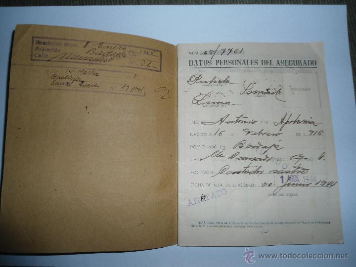 Documentos antiguos: ANTIGUO DOCUMENTO CARTILLA CAJA NACIONAL SEGURO ENFERMEDAD - INSTITUTO NACIONAL PREVISION - 1944 - Foto 2 - 47992914