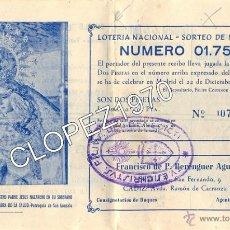 Documentos antiguos: SEMANA SANTA DE SEVILLA,1960,PARTICIPACION LOTERIA HERMANDAD DE SAN GONZALO. Lote 48217320