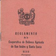 Documentos antiguos: REGLAMENTO COOPERATIVA DEFENSA AGRICOLA SAN ISIDRO Y STA.LUCIA - REUS 1959. Lote 48307552