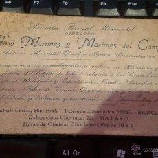 Documentos antiguos: TARJETA PUBLICIDAD ASESORIA PERICIAL MERCANTIL JOSE MARTINEZ Y MARTINEZ DEL CAMPO - BARCELONA. Lote 48310902