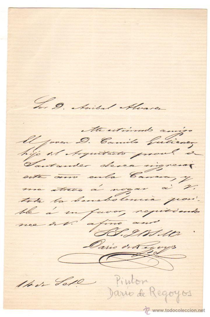 CARTA ORIGINAL CON AUTOGRAFO DE DARIO DE REGOYOS (PADRE). CIRCA 1910 (Coleccionismo - Documentos - Otros documentos)