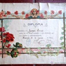 Documentos antiguos: DIPLOMA MODERNISTA A GASPAR BORRAS ESCUELA NACIONAL DE NIÑOS DE MASNOU 1924. IMP ELZEVIRIANA CAMI SA. Lote 48410876