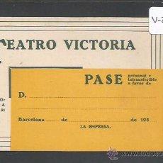 Documentos antiguos: ENTRADA - CARNET - PASE - TEATRO VICTORIA - TEMPORADA 1930 1931 - (V-2159). Lote 48421491