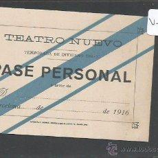 Documentos antiguos: ENTRADA - CARNET - PASE - TEATRO NUEVO - TEMPORADA 1916 17 - (V-2166). Lote 48422392