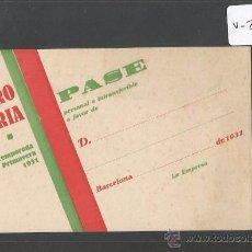Documentos antiguos: ENTRADA - CARNET - PASE - TEATRO VICTORIA - AÑO 1931 - (V-2173). Lote 48422654