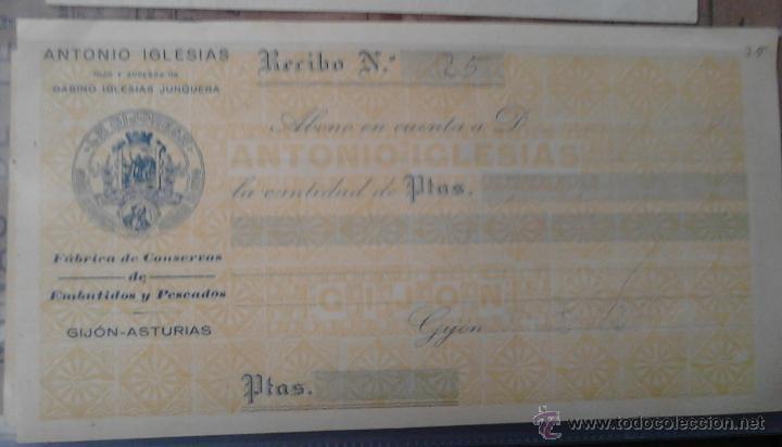 LA GIJONESA ANTONIO IGLESIAS FABRICA DE CONSERVAS DE EMBUTIDOS Y PESCADOS RECIBO (Coleccionismo - Documentos - Otros documentos)
