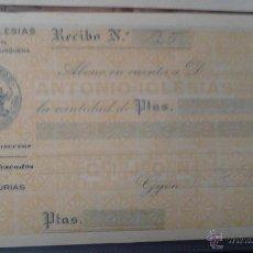 Documentos antiguos: LA GIJONESA ANTONIO IGLESIAS FABRICA DE CONSERVAS DE EMBUTIDOS Y PESCADOS RECIBO. Lote 48437539