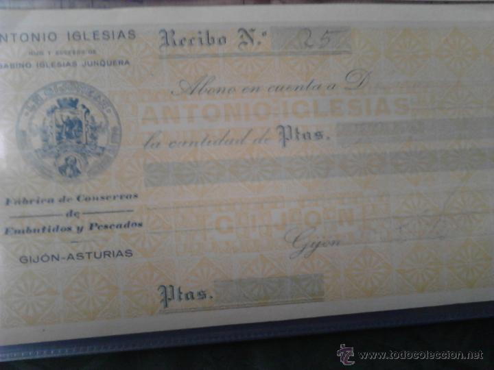 Documentos antiguos: LA GIJONESA ANTONIO IGLESIAS FABRICA DE CONSERVAS DE EMBUTIDOS Y PESCADOS RECIBO - Foto 2 - 48437539
