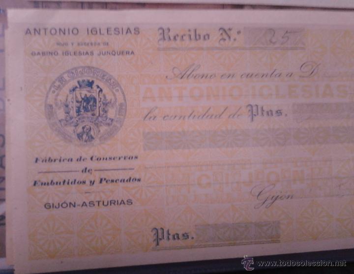 Documentos antiguos: LA GIJONESA ANTONIO IGLESIAS FABRICA DE CONSERVAS DE EMBUTIDOS Y PESCADOS RECIBO - Foto 3 - 48437539