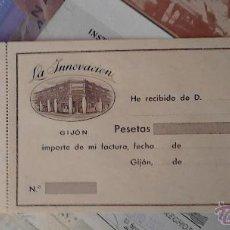 Documentos antiguos: LA INNOVACIÓN GIJON RECIBO. Lote 48437907