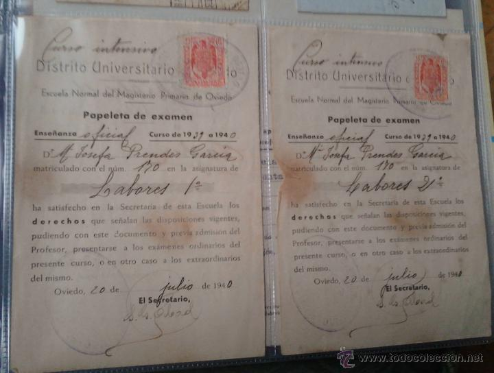 PAPELETAS DE EXAMEN ESCUELA NORMAL DEL MAGISTERIO PRIMARIO DE OVIEDO ASIGNATURA LABORES 1939/40 (Coleccionismo - Documentos - Otros documentos)