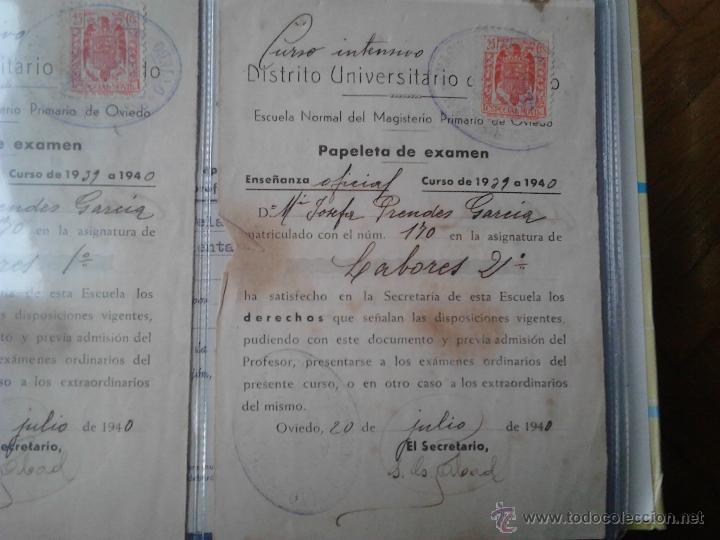Documentos antiguos: PAPELETAS DE EXAMEN ESCUELA NORMAL DEL MAGISTERIO PRIMARIO DE OVIEDO ASIGNATURA LABORES 1939/40 - Foto 3 - 48438341