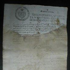 Documentos antiguos: TIMBRADO PAPEL FISCAL SELLO CUARTO CUARENTA MARAVEDIS AÑO 1815. Lote 48551129